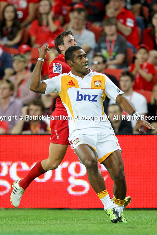 Aseli Tikoirotuma celebrates his try during the Super Rugby game at Suncorp Stadium, Sunday 13, May 2012 .