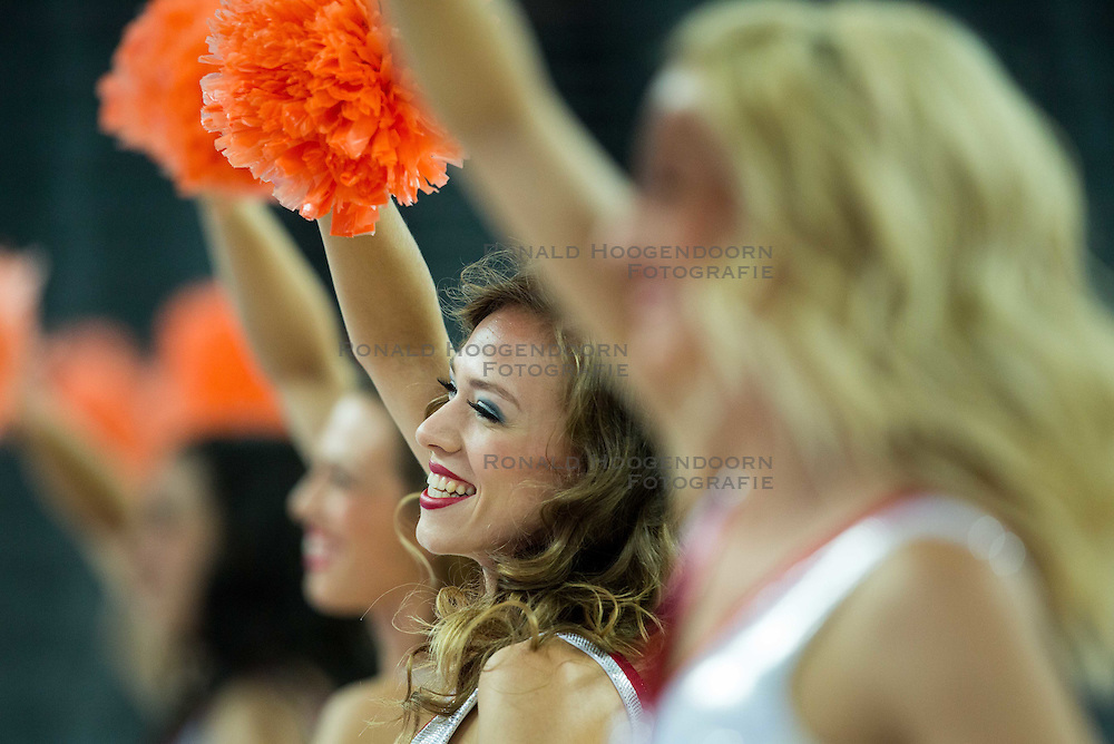 06-09-2015 CRO: FIBA Europe Eurobasket 2015 Nederland - Macedonie, Zagreb<br /> Cheerleaders perform during basketball match between Netherlands and Macedonia at Day 2 in Group C of FIBA Europe Eurobasket 2015, on September 6, 2015, in Arena Zagreb, Croatia. Photo by Vid Ponikvar / RHF
