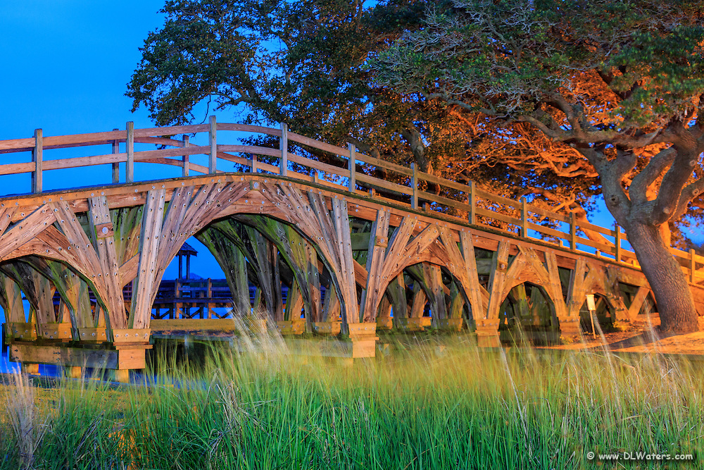 Live oaks and the wooden bridge that connect  Corolla lighthouse with the Whale Head Club. Photographed at twilight while using a flashlight to paint light into the shadows of the bridge and the grass in the foreground.