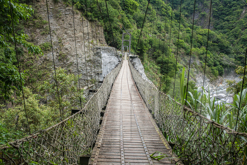 Suspension bridge at Taroko Gorge, near Hualien, Taiwan, Republic of China, Asia