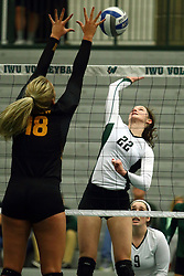 28 October 2016:  Anne Cummings during an NCAA womens division 3 Volleyball match between the DePauw Tigers and the Illinois Wesleyan Titans in Shirk Center, Bloomington IL