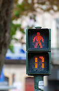 Pedestrian traffic light with timer, Photographed in the old town, Coimbra, Portugal