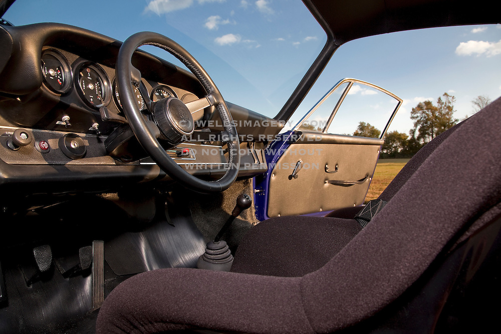 Image of a blue 1973 Sunoco RSR tribute car interior in Virginia, Porsche 911 RSR, property released