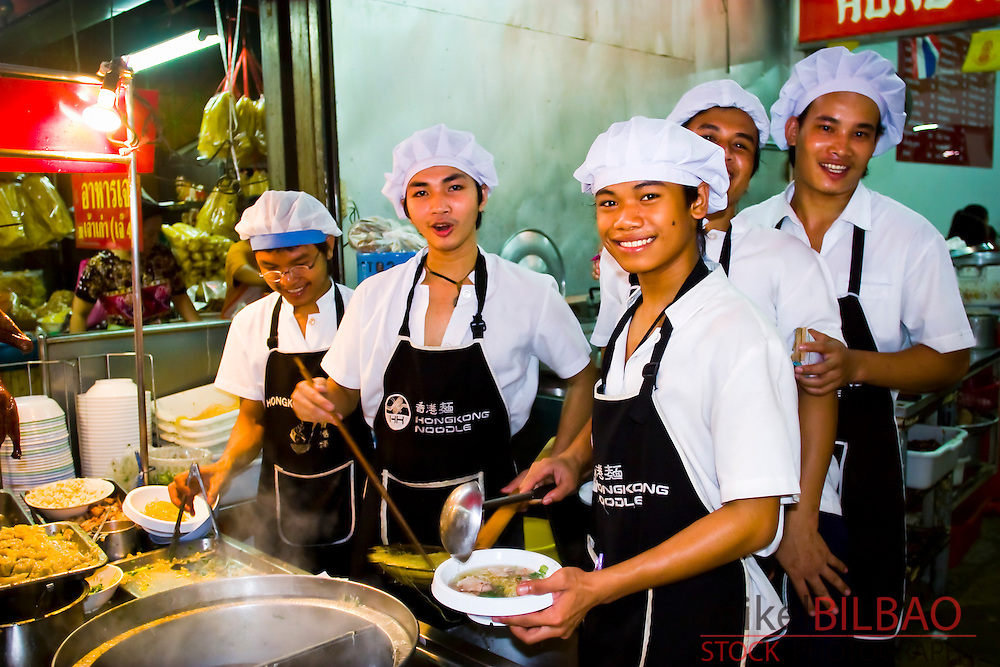 Restaurant waiters. Chinatown. Bangkok. Thailand.