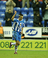 Photo: Aidan Ellis.<br /> Wigan Athletic v Arsenal. Carling Cup. Semi Final, 1st Leg.<br /> 10/01/2006.l<br /> Wigan's  Paul Scharner celebrates his goal