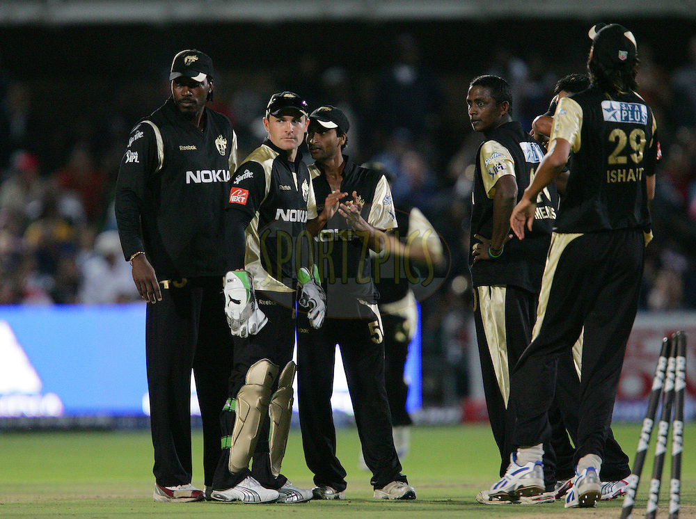 PORT ELIZABETH, SOUTH AFRICA - 27 April 2009. Brendan McCullam and the Knight Riders celebrate during the IPL Season 2 match between Kolkata Knight Riders and the Mumbai Indians held at St Georges Park in Port Elizabeth , South Africa..