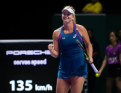 October 26, 2018 - Kallang, SINGAPORE - Coco Vandeweghe of the United States in action during her doubles quarterfinal at the 2018 WTA Finals tennis tournament (Credit Image: © AFP7 via ZUMA Wire)