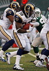 Aug 14, 2009; East Rutherford, NJ, USA;  St. Louis Rams running back Steven Jackson (39) carries the ball during the first half at Giants Stadium.