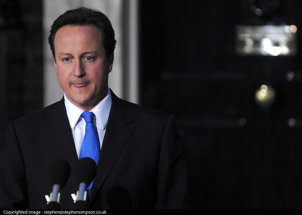 © under license to London News Pictures. 11/05/10. David Cameron moments before he makes a speech telling the media he has accepted Queen Elizabeth II's invitation to form a new Government. British Prime Minister Gordon Brown has resigned his position and David Cameron has become the new British Prime Minister on May 11, 2010. The Conservative and Liberal Democrats are to form a coalition government after five days of negotiation. Photo credit should read Stephen Simpson/LNP