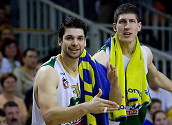 Saso Ozbolt and Damjan Rudez of Olimpija celebrates at third finals basketball match of Slovenian Men UPC League between KK Union Olimpija and KK Helios Domzale, on June 2, 2009, in Arena Tivoli, Ljubljana, Slovenia. Union Olimpija won 69:58 and became Slovenian National Champion for the season 2008/2009. (Photo by Vid Ponikvar / Sportida)