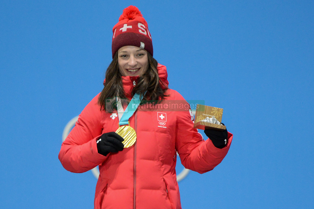 February 17, 2018 - Pyeongchang, South Korea - SARAH HOEFFLIN of Switzerland celebrates getting the gold medal in the Ladies' Slopestyle freestyle skiing event in the PyeongChang Olympic Games. (Credit Image: © Christopher Levy via ZUMA Wire)