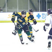 1st year defence man, Clayton Eisler (22) of the Regina Cougars during the Men's Hockey Home Game on Sat Dec 01 at Co-operators Center. Credit: Arthur Ward/Arthur Images