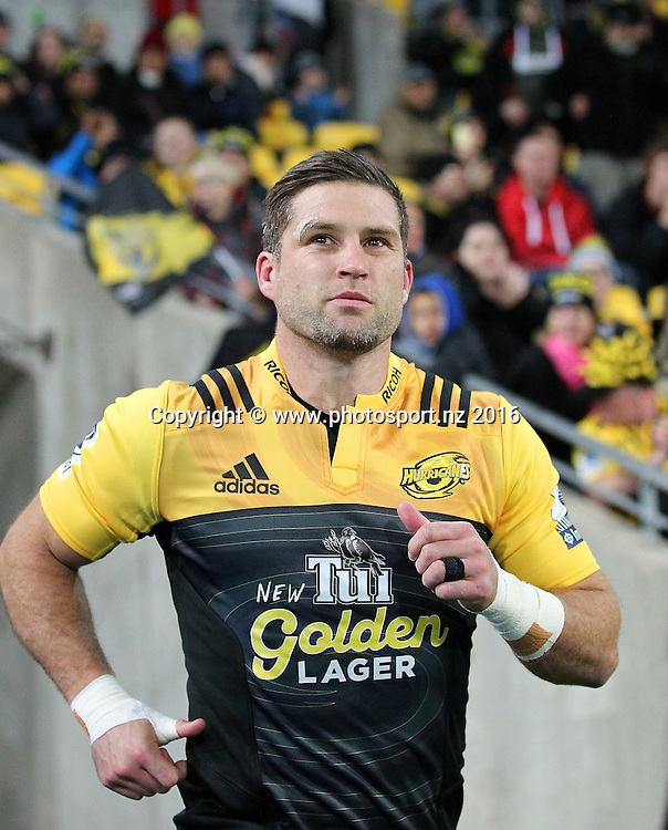 Hurricanes' Cory Jane runs out for his final regular season home game during the round 15 Super Rugby match, Hurricanes v Blues at Westpac Stadium, Wellington, New Zealand. 2nd July 2016. © Copyright Photo: Grant Down / www.photosport.nz