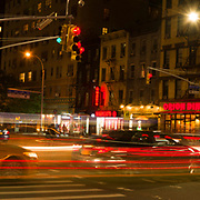 Night time traffic at the corner of 23rd St and 2nd Ave, manhattan, new york city