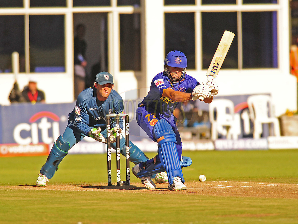 PORT ELIZABETH, SOUTH AFRICA - 2 May 2009.  Carseldine plays forwards as Gilchrist watches during the  IPL Season 2 match between the Deccan chargers vs Rajasthan Royals held at St Georges Park in Port Elizabeth , South Africa.