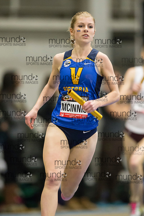 Windsor, Ontario ---2015-03-13---  Shauna McInnis               of  University of Victoria competes in the 4X800m relay at the 2015 CIS Track and Field Championships in Windsor, Ontario, March 15, 2015.<br /> GEOFF ROBINS/ Mundo Sport Images