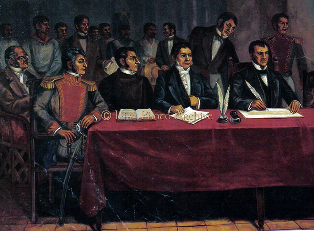 Mexican War of Independence (from Spain) 1810-1820: Congress of Chilpancingo, 1813, called by  Jose Maria Teclo Morelos y Pavon (1765-1815), right, Mexican Roman Catholic Priest who became leader of the revolutionaries after the exection of Miguel Hidalgo.  The Congress endorsed Mexico's declaration of independence and on 6 November signed the first legal document of separation from Spain is proclaimed.
