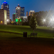 Kansas City at dusk; grounds of Liberty Memorial and downtown skyline in distance.
