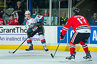 KELOWNA, CANADA - APRIL 8: Cal Foote #25 of the Kelowna Rockets looks for the pass against the Portland Winterhawks on April 8, 2017 at Prospera Place in Kelowna, British Columbia, Canada.  (Photo by Marissa Baecker/Shoot the Breeze)  *** Local Caption ***
