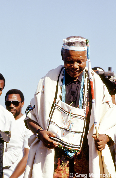 Eastern Cape, South Africa 1994. Nelson Mandela wears traditional Xhosa attire during part of his campaign tour, 1994