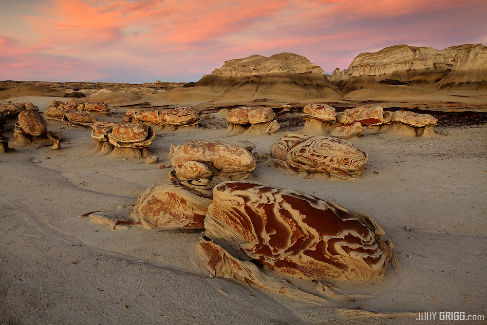 Time and natural elements have etched a fantasy world of strange rock formations and fossils in the Bisti Wilderness area 30 miles south of Farmington, New Mexico.
