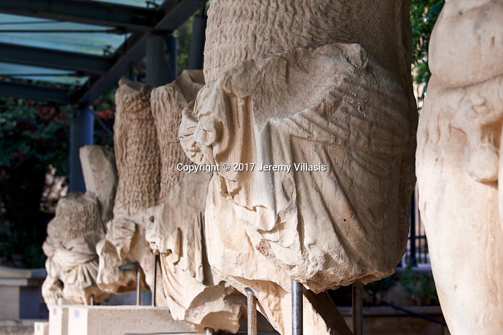 A group of statue fragments from the Theatre of Dionysus Eleuthereus on the South slope of the Athenian Acropolis.