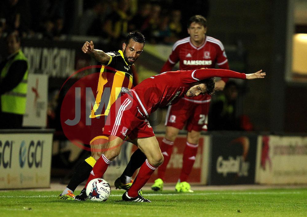 Robbie Weir of Burton Albion tackles Diego Fabbrini of Middlesbrough - Mandatory byline: Robbie Stephenson/JMP - 07966386802 - 25/08/2015 - FOOTBALL - Pirelli Stadium -Burton,England - Burton Albion v Middlesbrough - Capital One Cup - Second Round