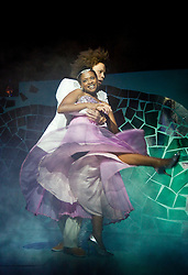 """© Licensed to London News Pictures. 1212/2011. London. UK. Craig Storrod as Prince Leo and Ayesha Antoine as Cinderella.  The Panto """"Cinderella""""  opens at the Theatre Royal Stratford East, London. Photo credit: Bettina Strenske/LNP"""