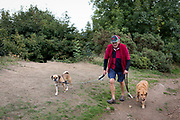 A dog walker exercises his pets on the Beacon, on 15th September 2018, in Malvern, Worcestershire, England UK. Worcestershire Beacon, also popularly known as Worcester Beacon, or locally simply as The Beacon, is a hill whose summit at 425 metres (1,394 ft)[1] is the highest point of the range of Malvern Hills that runs about 13 kilometres (8.1 mi) north-south along the Herefordshire-Worcestershire border, although Worcestershire Beacon itself lies entirely within Worcestershire.