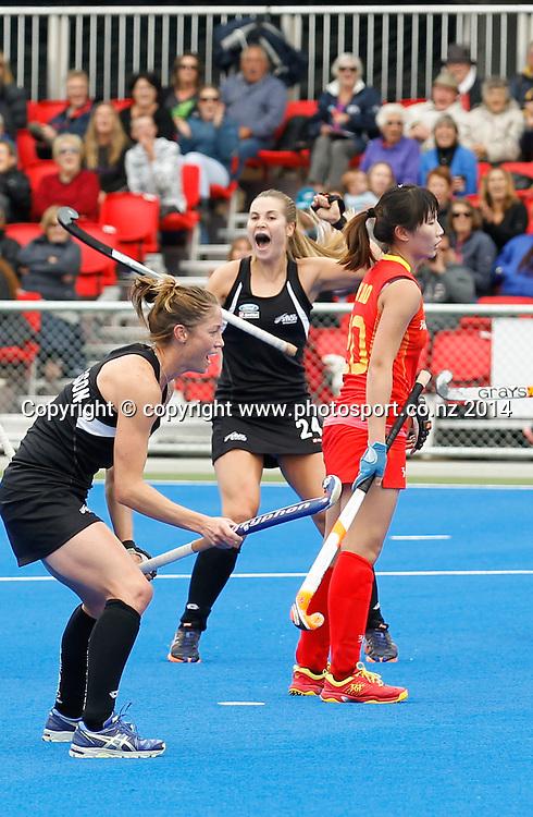 New Zealand's Rose Keddell celebrates her goal. Black Sticks Women v China. 3rd 4th play off.  Hawkes Bay Festival of Hockey, Hastings, New Zealand. Sunday, 13 April, 2014. Photo: John Cowpland / photosport.co.nz