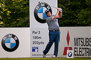 golf professional Anthony Wall  tees off on the 5th during the BMW PGA Championship at the Wentworth Club, Virginia Water, United Kingdom on 26 May 2016. Photo by Simon Davies.