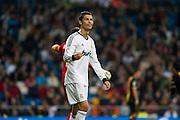 Cristiano Ronaldo offside, he smiles showing disagreement