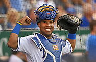Kansas City Royals catcher Salvador Perez (13) gets set to go onto the field against the Minnesota Twins during the first inning at Kauffman Stadium.