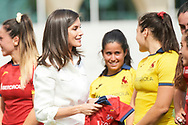 Queen Letizia of Spain assists to the training of the 'National Women's Rugby Team 7' participating in the next pre-Olympic tournament at Rugby Stadium of the Complutense University on July 4, 2019 in Madrid, Spain