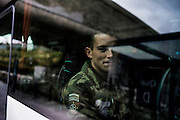 16th BC French unit soldiers leave Roissy Charles de Gaulle Airport to go back to Bitch (Moselle) in their base, on October 3, 2012 in Paris, after spending 3 days in Pafos, Cyprus, to decompress and debrief the 5 months spent in Afghanistan. AFP PHOTO / JEFF PACHOUD