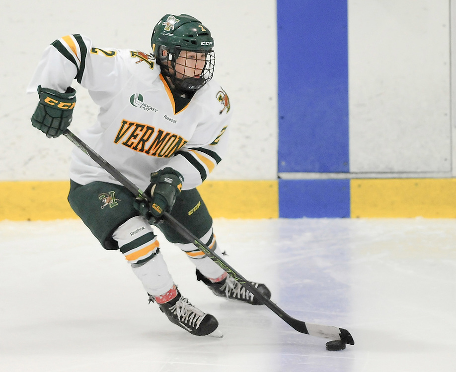 PITTSBURGH, PA - OCTOBER 15:  Kourtney Menches #2 of the Vermont Catamounts skates with the puck in the third period during the game at 84 Lumber Arena on October 15, 2016 in Pittsburgh, Pennsylvania. (Photo by Justin Berl)