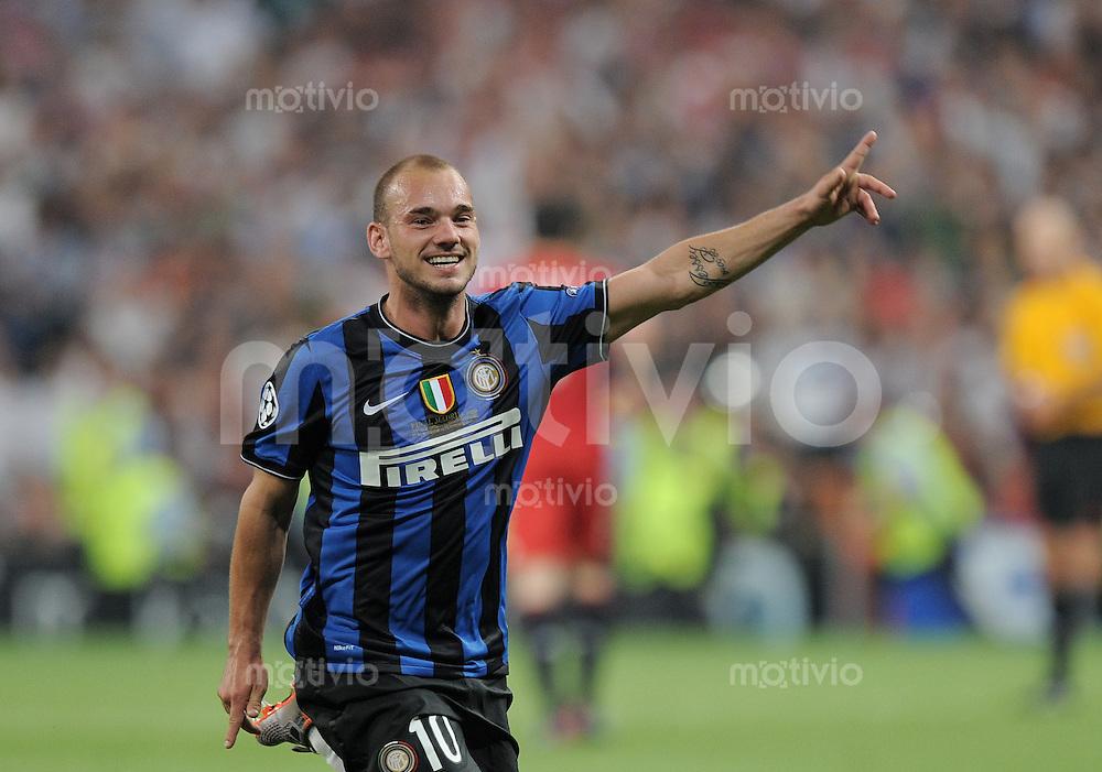 FUSSBALL      CHAMPIONSLEAGUE FINALE       SAISON 2009/2010 FC Bayern Muenchen - Inter Mailand    22.05.2010 JUBEL Inter;  Wesley Sneijder