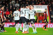Everton forward Romelu Lukaku is congratulated on scoring Everton's second goal by Everton defender Ramiro Funes Mori and Everton midfielder Ross Barkley during the The FA Cup match between Bournemouth and Everton at the Goldsands Stadium, Bournemouth, England on 20 February 2016. Photo by Graham Hunt.