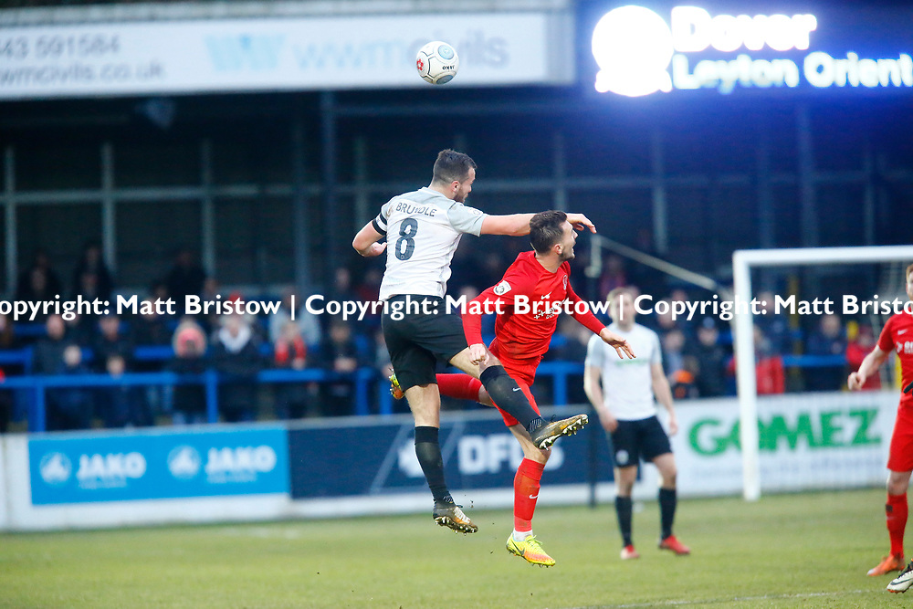 Dover's midfielder Mitch Brundle wins the ball in the air during the The FA Trophy match between Dover Athletic and Leyton Orient at Crabble Stadium, Kent on 3 February 2018. Photo by Matt Bristow.