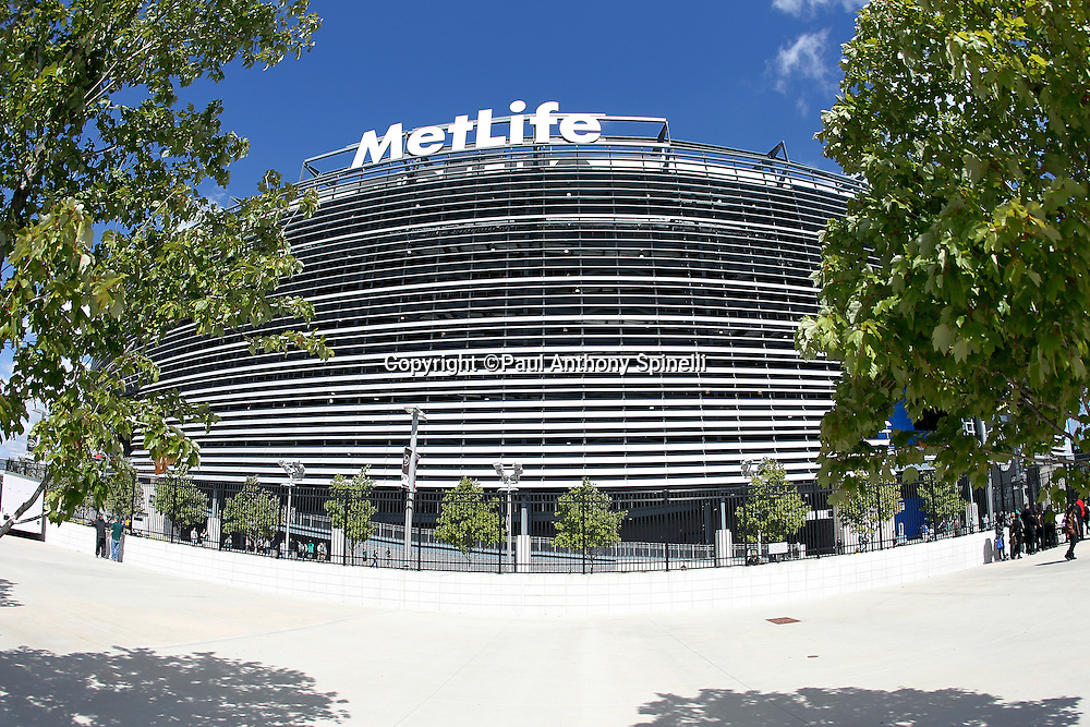 MetLife Stadium stands ready in this general view of the exterior through the trees at the New York Jets NFL week 2 football game against the Jacksonville Jaguars on Sunday, September 18, 2011 in East Rutherford, New Jersey. The Jets won the game 32-3. ©Paul Anthony Spinelli