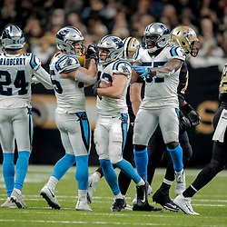 Dec 30, 2018; New Orleans, LA, USA; Carolina Panthers safety Colin Jones (42) celebrates after an interception against the New Orleans Saints during the second half at the Mercedes-Benz Superdome. Mandatory Credit: Derick E. Hingle-USA TODAY Sports