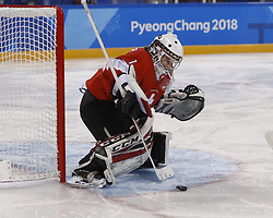 February 18, 2018 - Pyeongchang, KOREA - Switzerland goaltender Janine Alder (1) stops a shot by Korea defenseman Suyeon Eom (3) in a hockey game between Switzerland and Korea during the Pyeongchang 2018 Olympic Winter Games at Kwandong Hockey Centre. Switzerland beat Korea 2-0. (Credit Image: © David McIntyre via ZUMA Wire)