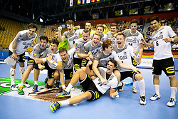 Players of Germany celebrate win against Portugal after handball match between National teams of Germany and Portugal in game for Third place of 2018 EHF U20 Men's European Championship, on July 29, 2018 in Arena Zlatorog, Celje, Slovenia. Photo by Urban Urbanc / Sportida