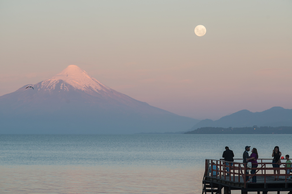 Moonrise, Puerto Varas, Chile  with Osorno Volcano and Llanquihue Lake