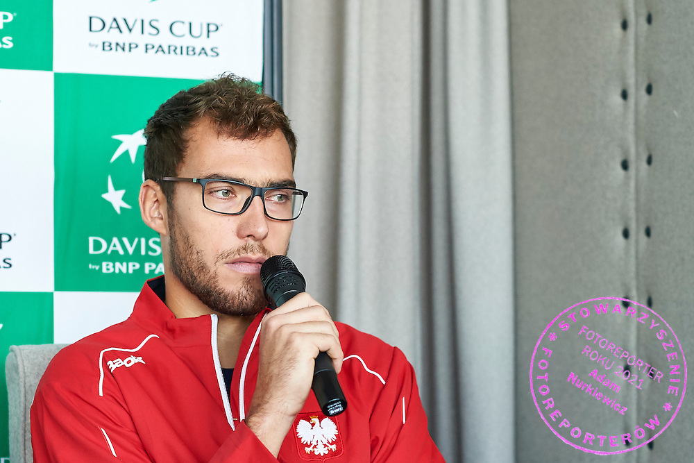 Jerzy Janowicz of Poland speaks during official draw one day before Davis Cup Tie World Group Play-off Poland v Slovakia at Mondo di Vinegre Restaurant in Gdynia, Poland.<br /> <br /> Poland, Gdynia, September 17, 2015<br /> <br /> Picture also available in RAW (NEF) or TIFF format on special request.<br /> <br /> For editorial use only. Any commercial or promotional use requires permission.<br /> <br /> Adam Nurkiewicz declares that he has no rights to the image of people at the photographs of his authorship.<br /> <br /> Mandatory credit:<br /> Photo by &copy; Adam Nurkiewicz / Mediasport