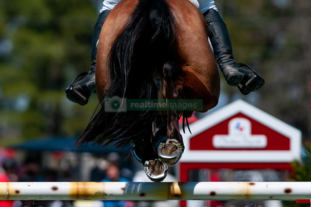 March 22, 2019 - Raeford, North Carolina, US - March 22, 2019 - Raeford, N.C., USA - A horse and rider clear a jump in the show jumping CCI-4S division at the sixth annual Cloud 11-Gavilan North LLC Carolina International CCI and Horse Trial, at Carolina Horse Park. The Carolina International CCI and Horse Trial is one of North AmericaÃ•s premier eventing competitions for national and international eventing combinations, hosting International competition at the CCI2*-S through CCI4*-S levels and National levels of Training through Advanced. (Credit Image: © Timothy L. Hale/ZUMA Wire)