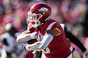 FAYETTEVILLE, AR - OCTOBER 27:  Rakeem Boyd #5 of the Arkansas Razorbacks runs the ball in the first half of a game against the Vanderbilt Commodores at Razorback Stadium on October 27, 2018 in Fayetteville, Arkansas.  The Commodores defeated the Razorbacks 45-31.  (Photo by Wesley Hitt/Getty Images) *** Local Caption *** Rakeem Boyd