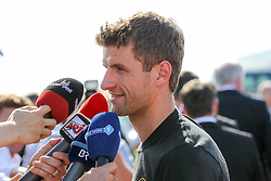 15.07.2014, Flughafen, Muenchen, GER, FIFA WM, Empfang der Weltmeister in Deutschland, Finale, im Bild Thomas Mueller #13 (Deutschland) beim Interview // during Celebration of Team Germany for Champion of the FIFA Worldcup Brazil 2014 at the Flughafen in Muenchen, Germany on 2014/07/15. EXPA Pictures © 2014, PhotoCredit: EXPA/ Eibner-Pressefoto/ Kolbert  *****ATTENTION - OUT of GER*****