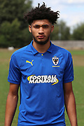 AFC Wimbledon Tyler Burey during the AFC Wimbledon 2018/19 official photocall at the Kings Sports Ground, New Malden, United Kingdom on 31 July 2018. Picture by Matthew Redman.