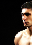 Amir Khan is ready for his next challenge against Gairy St Clair. Excel Arena, London, 1st Feb 2008.
